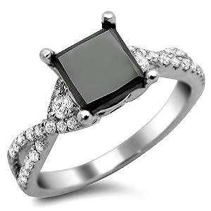 2.02ct Black Princess Cut Diamond Engagement Ring 18k White Gold