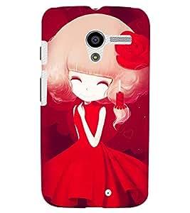 Printvisa Sweet Girl In Red Back Case Cover for Motorola Moto X XT1058::Motorola Moto X (1st Gen)