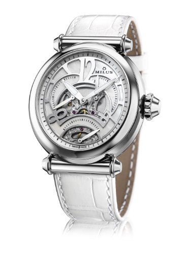 Milus Merea MER001 Automatic Stainless Steel Case White Leather Band Anti-Reflective Sapphire Women's Watch
