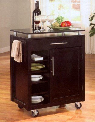 Image of Black Kitchen Cart With Nickel Finish Hardware (B0017DQCCO)