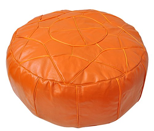 Egyptian Morrocan Handmade Genuine Leather Ottoman Pouf, Large