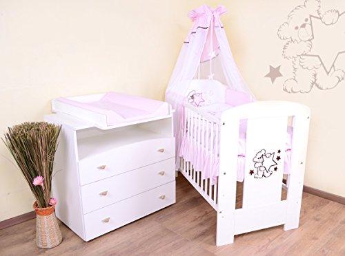 babyzimmer sparset incl babybett wickelkommode ausstattung komplettset rosa. Black Bedroom Furniture Sets. Home Design Ideas