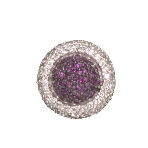 C.Z. AND RUBY ROUND RHODIUM PLATED (.925) STERLING SILVER PENDENT (Nice Holiday Gift, Special Black Firday Sale)