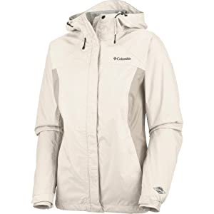 Columbia Women's Arcadia Rain Jacket, Sea Salt, Fawn, Large