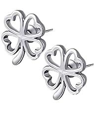 Kaizer Clover 18K White Gold Plated Earring For Women