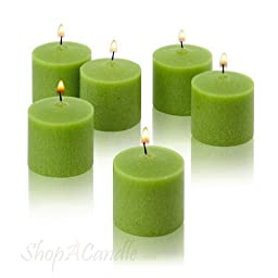 10 Hour Lime Green Unscented Votive Candles Set of 72 by Light In The Dark