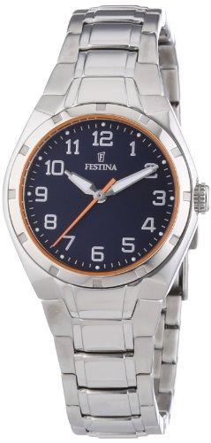 Festina Sport F16485/B - Reloj analógico de cuarzo para mujer, correa de acero inoxidable color plateado (agujas luminiscentes)