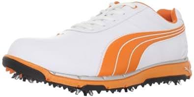 PUMA Men's Faas Trac Wide Golf Shoe,White/Vibrant Orange,7 D US