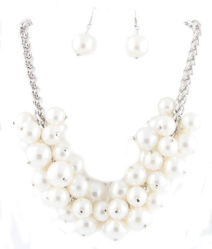 Ladies Silver  White Cluster Pearl Beaded 20