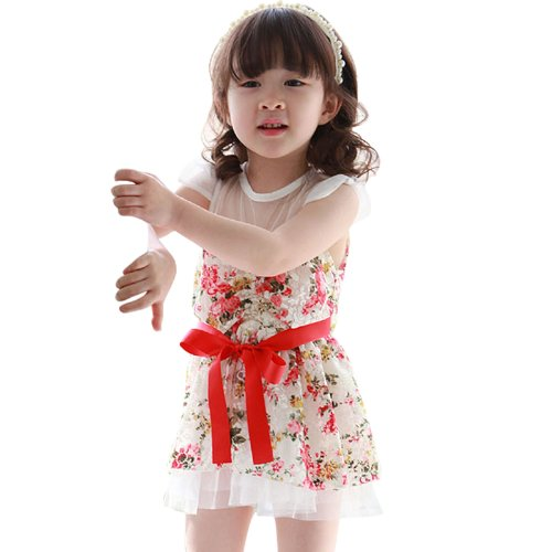 Little Hand Flower Girls Dress Kids Dresses Toddlers Bowknot Lace Princess Dress 2-7Y 3T White