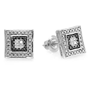 0.05 Carat (ctw) Sterling Silver White & Black Round Diamond Micro Pave Setting Kite Shape Stud Earrings