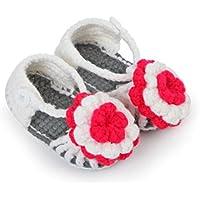 Flower Adorned Grey White Crochet Sandals