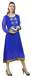 Viva N Diva Women's Blue Color Women's Georgette Kurti.