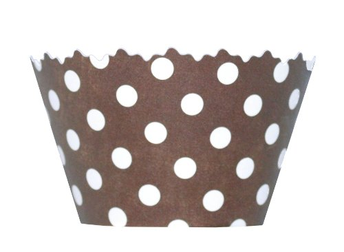 Chocolate Brown Polkadots Cupcake Wrappers - Set of 12 - Bakers, Event Planners & Caterers Love Our Liners