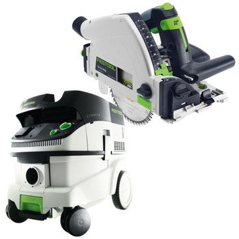 Festool P26561556 Ts 55 Req Plunge Cut Circular Saw With Ct 26 6.9 E Gallon Hepa Mobile Dust Extractor front-522821