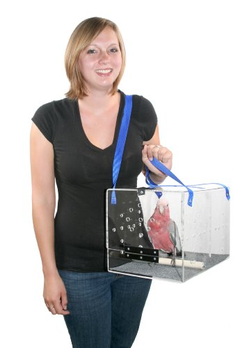 Crystal Shuttle Bird Carrier, Clear with Blue Carrying Strap, 15-Inches L x 10-Inches W x 10-Inches H