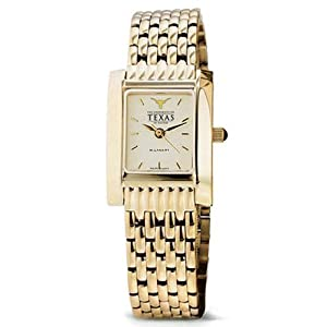 University of Texas Ladies Swiss Watch - Gold Quad with Bracelet by M.LaHart & Co.