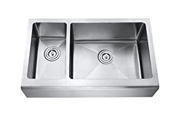 Chef Series 33 Inch Stainless Steel Premium 16 Gauge Smooth Flat Front Farm Apron Kitchen Sink 30/70 Double Bowl 15mm Radius Design with Free Accessories