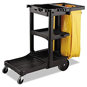 "Rubbermaid Commercial RCP9T80YEL Vinyl Cleaning Cart Bag 26 gal. Yellow 17-1/2""w x 10-1/2""d x 33""h, Yellow"