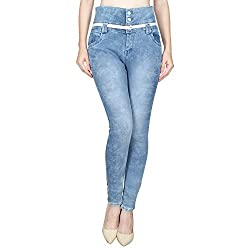 Ajaero Slim Fit Denim Lycra Upper Waist Women Jeans (Ice Blue, 26)