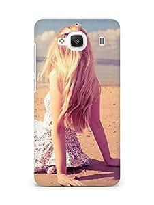 Amez designer printed 3d premium high quality back case cover for Xiaomi Redmi 2 (Blonde girl beach)