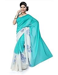 SareeStudio Attractive Firozi Off White Party Wear Print Designer Net Jacquard Sari