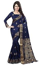 Odhni Women's Bollywood Navy Blue Banarsi Silk Jacquard Saree