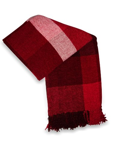 Jovi Home Scotch Chenille Hand Woven Throw 50-Inch-By-60-Inch, Red (Red/Brown/Bone)