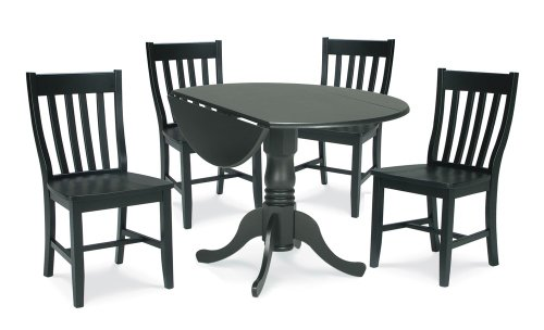 Buy Low Price International Concepts 5-Piece Set – 42″ Dual Drop Leaf Table with 4 Schoolhouse Chairs in Black – K46-42DP-C61P-2 (K46-42DP-C61P-2)