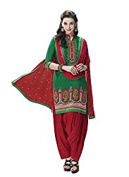 Kvsfab Green & Red Pure Cotton Cambric Embroiderd Patiala Dress Material