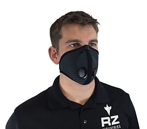 RZ-DustPollution-Mask-Bonus-Pack-w5-Laboratory-Tested-Filters-Model-M2-Mesh-Grey-Size-Regular