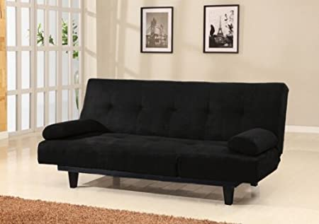 Cybil black microfiber fabric upholstered adjustable sofa futon bed with tufted back and adjustable side rest