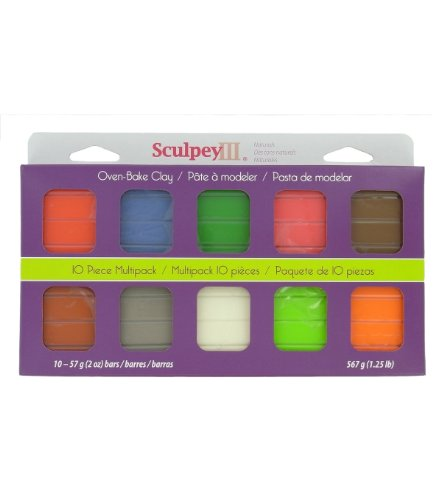 Sculpey III Polymer Clay Multi Pack, 10-Pack, Naturals