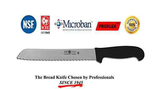 ICEL Cutlery 8-inch wavy edge Bread Slicer knife. Black Handle (Bread Crumb Machine compare prices)
