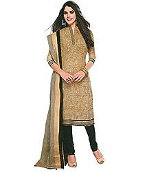 Fashion Dream Womens Cotton Dress material ( Khaki Black_Black_Freesize )