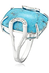 Sterling Silver Genuine Stabilized Turquoise with Diamond Accent Ring, Size 7