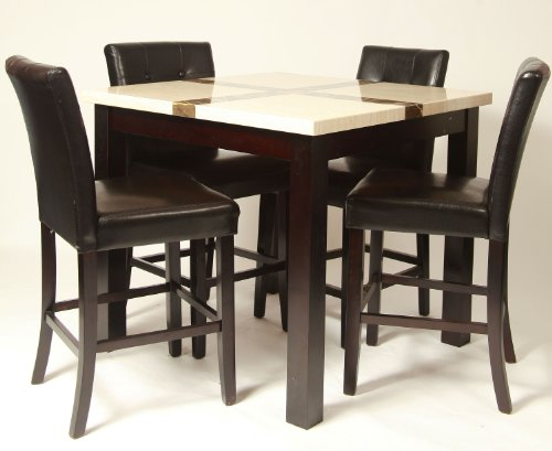 Roundhill Furniture Dina 5-Piece Artificial Marble Bar Set, Includes Table With 4 Black Pub