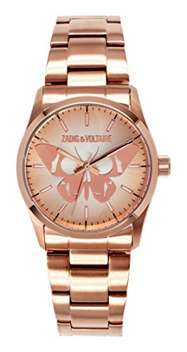 Zadig & Voltaire  - Reloj de cuarzo para mujer, correa de acero inoxidable color rosa