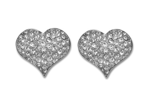 Sassy Clips Silver Petite Heart With Clear Crystal Rhinestones