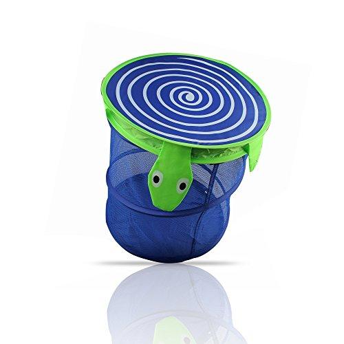 Superior breathable mesh spiral pop up hamper collapsible laundry basket happy turtle design - Collapsible waste basket ...