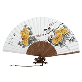 Abanico Blanco Pintado A Mano Desplegable en Papel de de Arroz de Morera Decoración Asia Oriental Arte de Bambú con Diseño de Crisantemos Amarillos