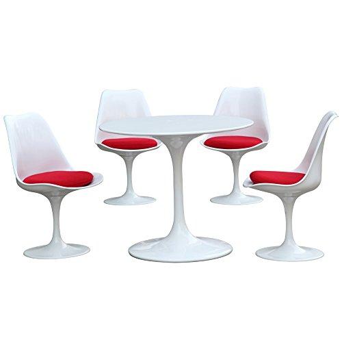 42 Eero Saarinen Style Tulip Dining Table With White