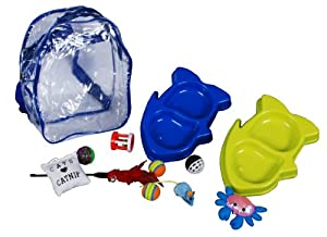 Riga Chat Sac à Dos Assortiment 2 Mangeoires Doubles + 9 Jouets Assortis