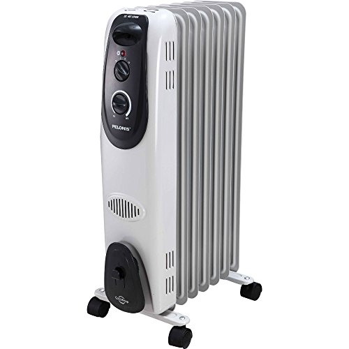 Pelonis Ultra Quite Safe Heat 1500W Electric Oil Filled Radiator Heater with Adjustable Thermostat and FREE Air Freshener, 0.67 Ounce (Large Oil Filled Radiator Heater compare prices)