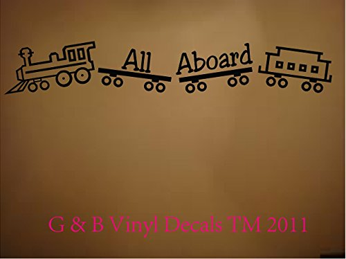 Wall Decal Quote Vinyl Lettering All Aboard Train Kids Room Home Decor front-40832
