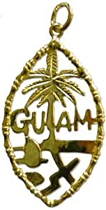 14K (585) 1 inch Yellow Gold Guam Seal Pendant with Bamboo Frame