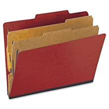 Pendaflex Colour Pressguard Classification Folders, Letter, Scarlet, 10/Box