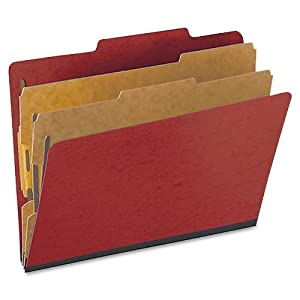 Pendaflex Colour Pressguard Classification Folders, Letter Size, Scarlet, 10 per Box (PFX1257SC)