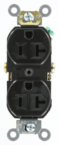 Leviton BR20-E 20 Amp, 125 Volt, Narrow Body Duplex Receptacle, Straight Blade, Commercial Grade, Self Grounding, Black (Commercial Outlet compare prices)