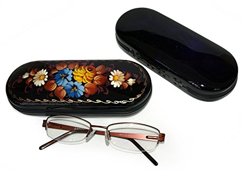 Hand Painted Eyeglass Case - Each item Unique - Traditional Folk Style Painting - Hard Holder for both Eyeglasses and Sunglasses (Salt Life Camo Visor compare prices)